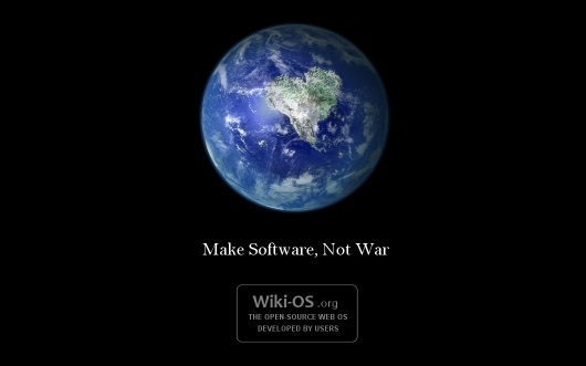 Small preview of the Wiki-OS desktop wallpaper titled Make Software Nor War